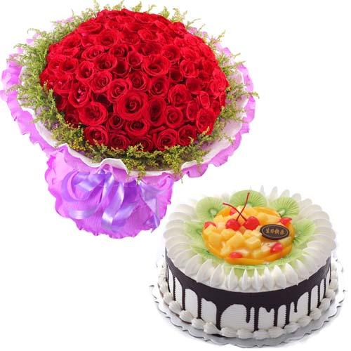 【鲜花蛋糕组合/纯纯的爱】99朵红玫瑰+水果巧克力鲜奶蛋糕8寸