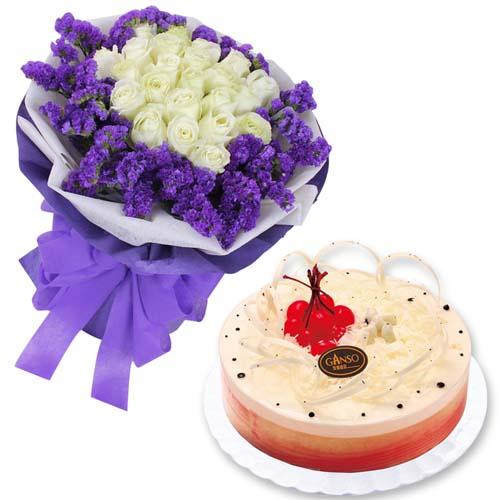 鲜花蛋糕组合/11朵白玫瑰+水果鲜奶蛋糕8寸