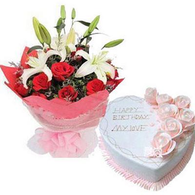 鲜花蛋糕组合/红玫瑰百合花束+奶油蛋糕(12朵玫瑰,2枝多头白香水百合+10寸)