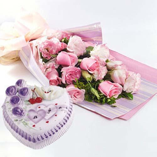 鲜花蛋糕组合/11朵粉玫瑰+水果鲜奶蛋糕8寸