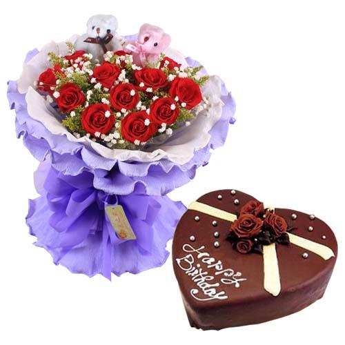 鲜花蛋糕组合/11朵红玫瑰+巧克力心形蛋糕8寸