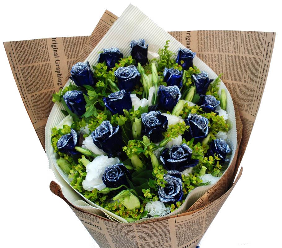 蓝色浪漫/19朵蓝玫瑰