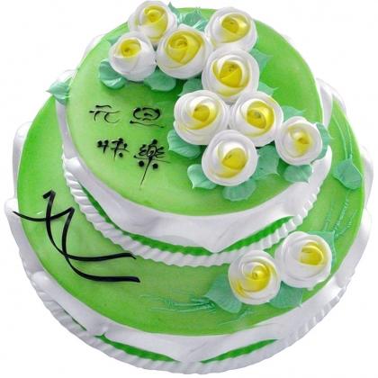 双层鲜奶蛋糕/绿色心情(下10寸上6寸)
