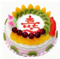 祝寿蛋糕/身体健康: 中间夹心水果,表面水果,寿字装饰
