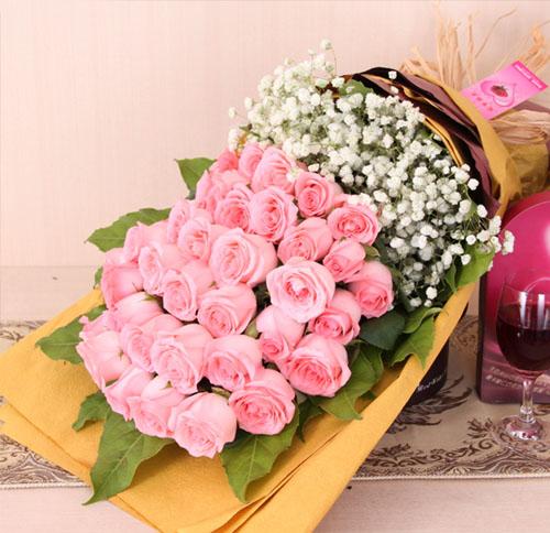 33枝粉玫瑰/携手一生