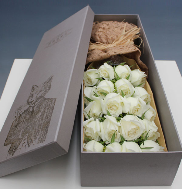 礼盒鲜花 19朵白玫瑰