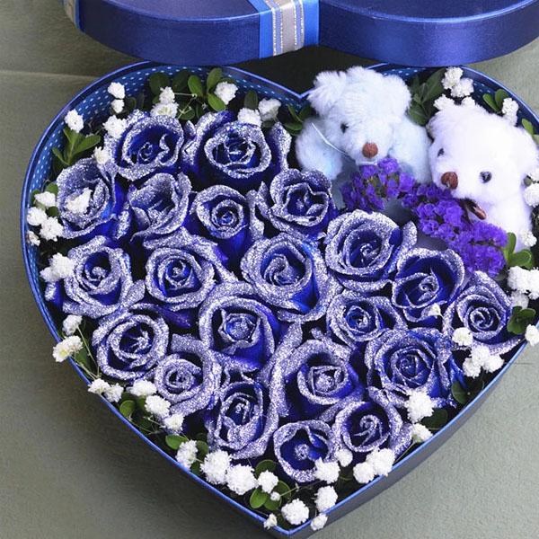 【礼盒鲜花/19朵蓝色妖姬】情深意浓