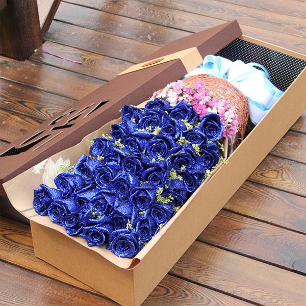 礼盒/33枝蓝色妖姬