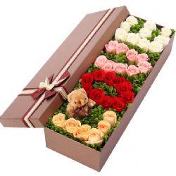 礼盒/33朵红白玫瑰
