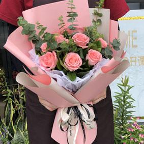 11枝粉玫瑰粉色欧雅纸包装