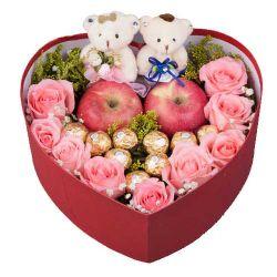 圣诞鲜花/9朵粉玫瑰