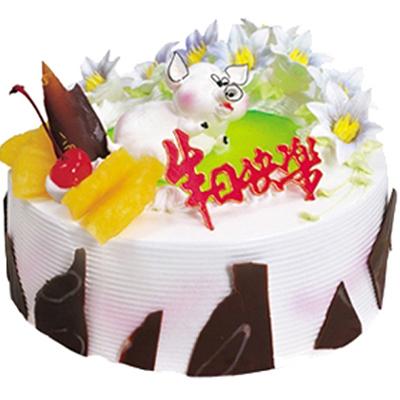 鲜奶蛋糕/欢乐序曲: 圆形水果蛋糕,网状巧克力围边,时令水果装饰