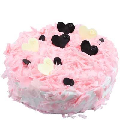 巧克力蛋糕/粉色甜心: 圆形欧式蛋糕,巧克力屑铺面,巧克力片艺术装饰。