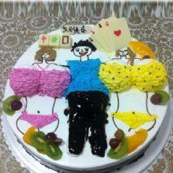 情趣蛋糕/左拥右抱: 鲜奶圆形艺术蛋糕
