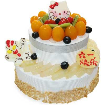 双层儿童蛋糕/雪国梦幻: 底层10寸,上层6寸双层圆形鲜奶水果蛋糕,时令水果