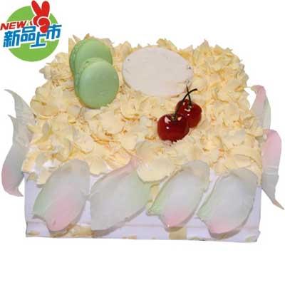 巧克力蛋糕/简单爱: 方形巧克力蛋糕、表面用白巧克力材料制作而成