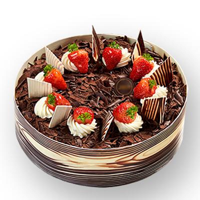 巧克力蛋糕/音乐之城: 巧克力水果蛋糕、新鲜水果,草莓没有其它水果代替