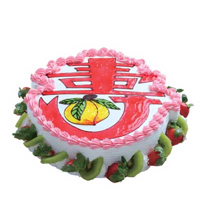 祝寿蛋糕/万寿无疆: 祝寿蛋糕,底边水果外围,草莓没有可其他水果代替