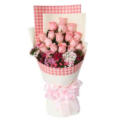 16枝粉玫瑰/苏格兰风情