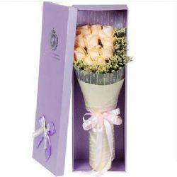 礼盒/11枝香槟玫瑰温暖的冬夜