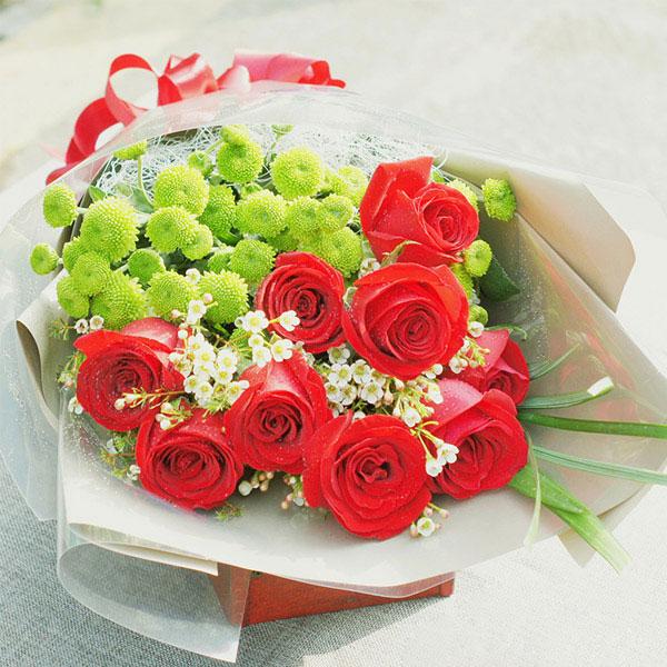 精选9朵红玫瑰/浅凝夏烟  (红玫瑰 爱情 朋友 生日 友情 情人 七夕 父母 教师 圣诞)