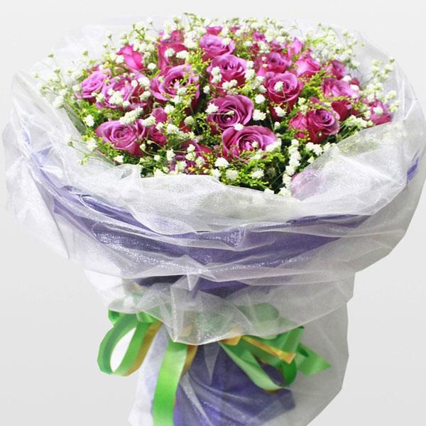 33枝顶级紫玫瑰/爱的城堡 (紫玫瑰 爱情 生日 友情 教师 母亲 七夕)
