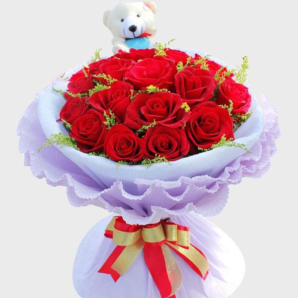 19枝极品红玫瑰/初升的太阳