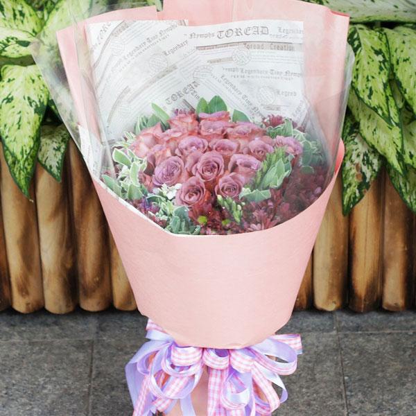 33枝极品紫玫瑰/我的太阳 (粉玫瑰 爱情 友情 朋友 生日 情人 七夕)