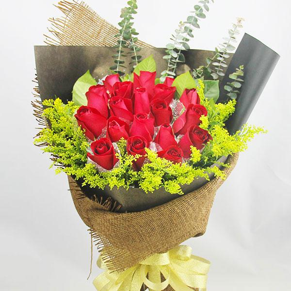 精选19朵优质红玫瑰/花开雨下 (红玫瑰 爱情 友情 情人 七夕 生日 朋友 圣诞)