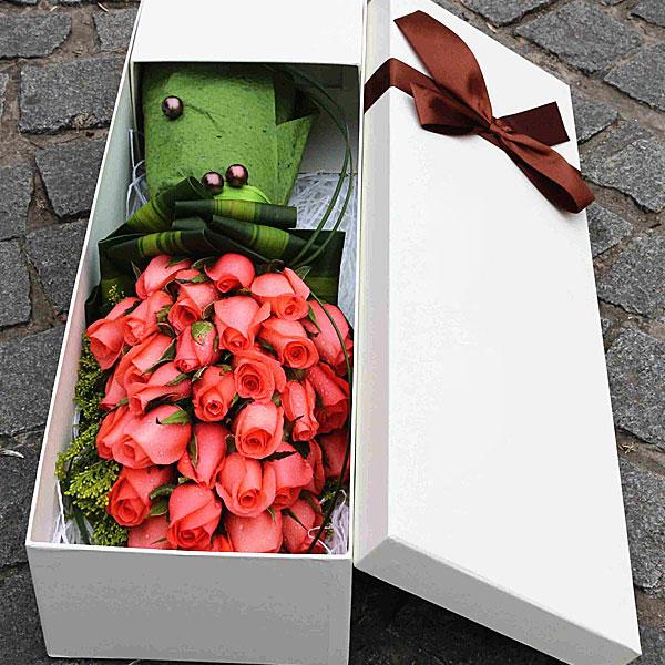精选33枝优质粉色玫瑰/来世今生 (粉玫瑰 爱情 友情 朋友 生日 七夕 情人 圣诞 礼盒)