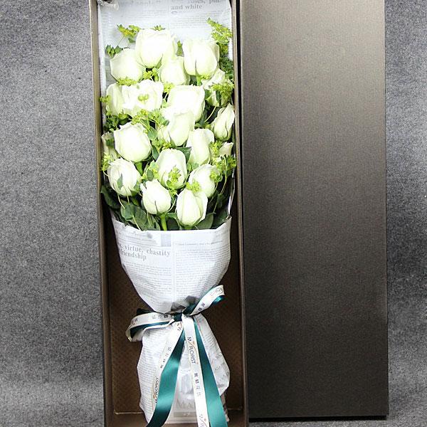19朵极品白玫瑰/不离不弃 (白玫瑰 爱情 友情 情人 生日 七夕 朋友 父母 教师 圣诞 礼盒)