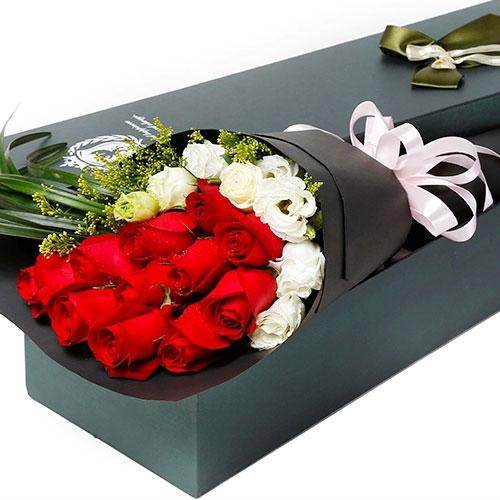 11枝极品红玫瑰/比翼双飞 (红玫瑰 爱情 友情 朋友 生日 情人 七夕 礼盒 圣诞)
