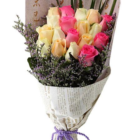 6枝戴安娜玫瑰+13枝香槟玫瑰/想你在心里 (戴安娜玫瑰 香槟玫瑰 爱情 友情 生日 情人 七夕 朋友 圣诞)