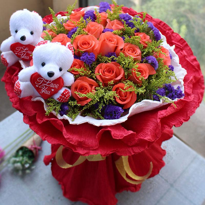 精选19朵粉玫瑰/想念你的笑 (粉玫瑰 爱情 友情 生日 情人 七夕 朋友 圣诞)