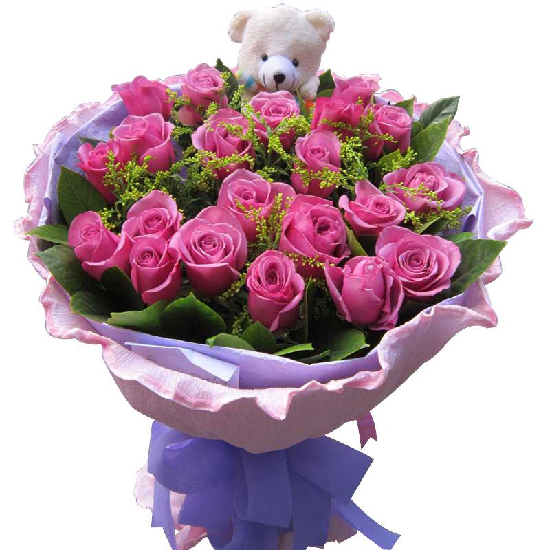 19枝紫玫瑰/心的守护 (紫玫瑰 爱情 友情 生日 情人 七夕 朋友 圣诞)