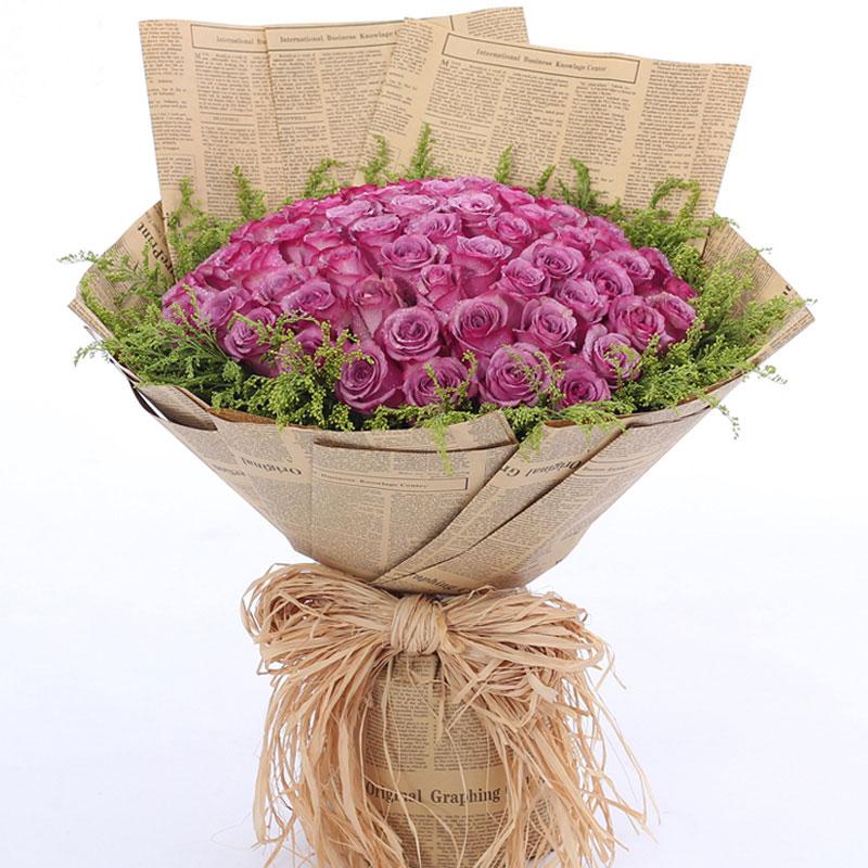 精选99朵紫玫瑰/璀璨星辰 (紫玫瑰 爱情 友情 生日 情人 七夕 朋友 圣诞)