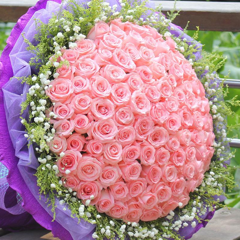 99朵戴安娜粉玫瑰/爱就一辈子