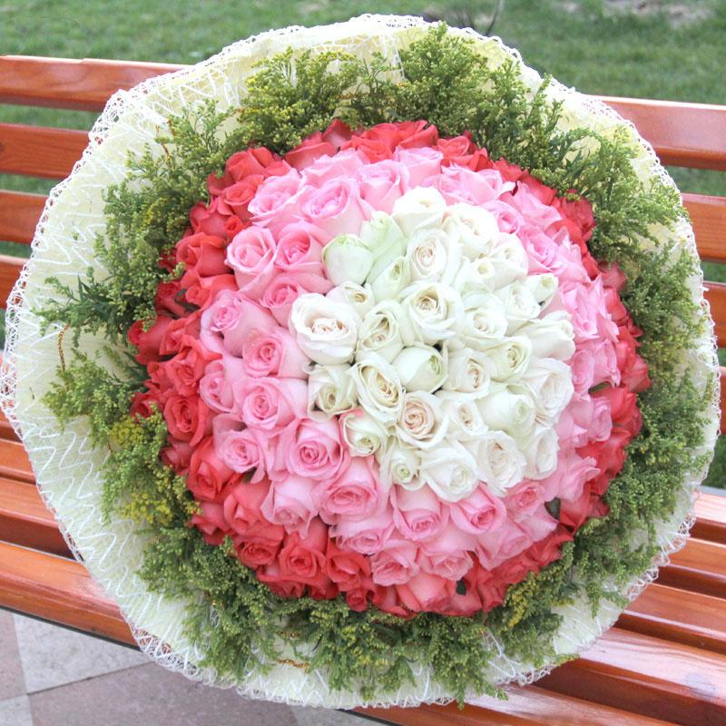 22朵白玫瑰33朵戴安娜玫瑰44朵艳粉玫瑰/初恋