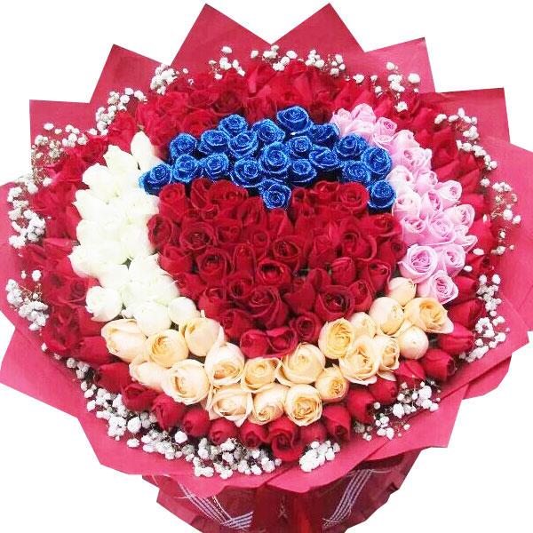 156朵极品蓝色妖姬、红玫瑰、白玫瑰、香槟玫瑰、粉玫瑰合成/邂逅缘分