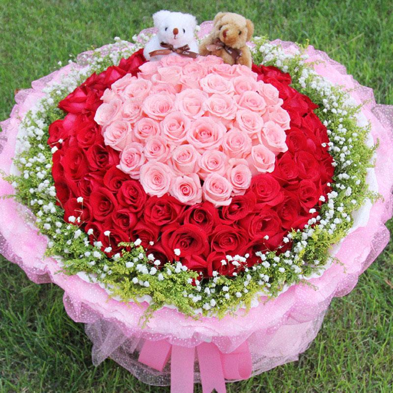 99朵戴安娜玫瑰红玫瑰混搭/扶摇
