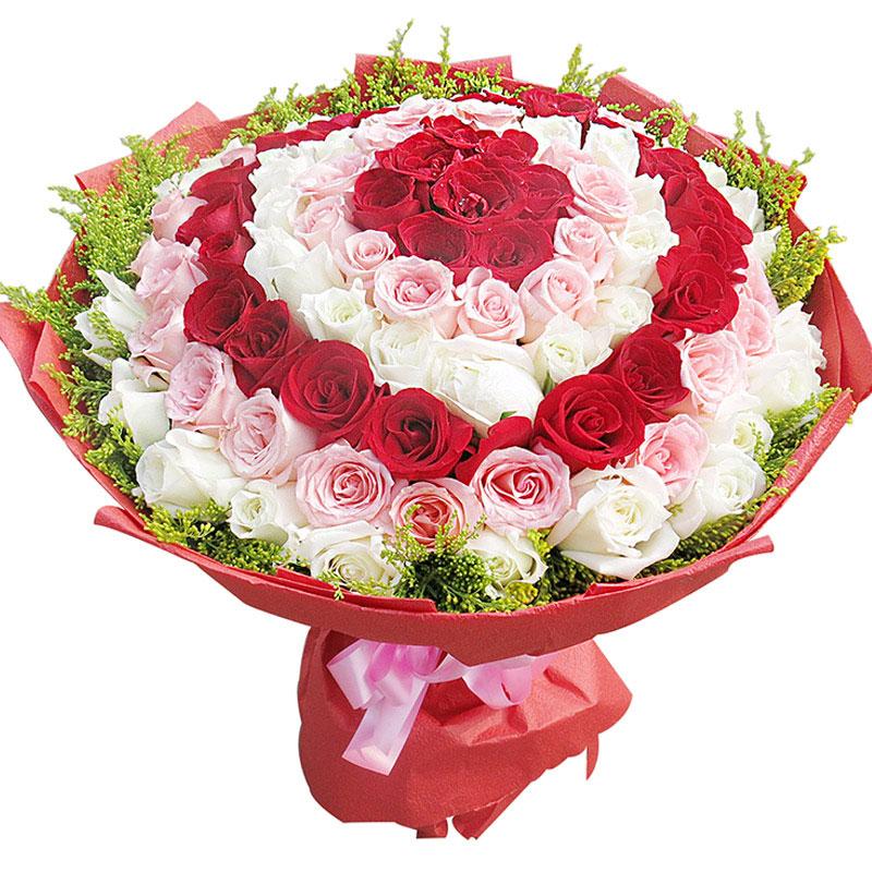 精选99朵优质红、戴安娜、白玫瑰花间插/千年之恋