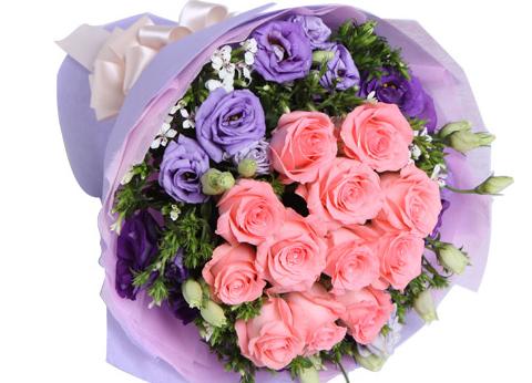11枝品质戴安娜玫瑰搭配紫色桔梗/深爱你