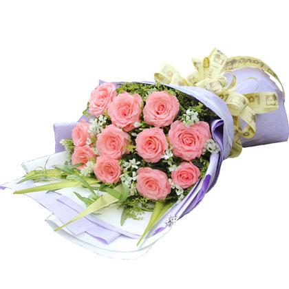 11枝戴安娜玫瑰搭配绿叶/甜蜜恋人