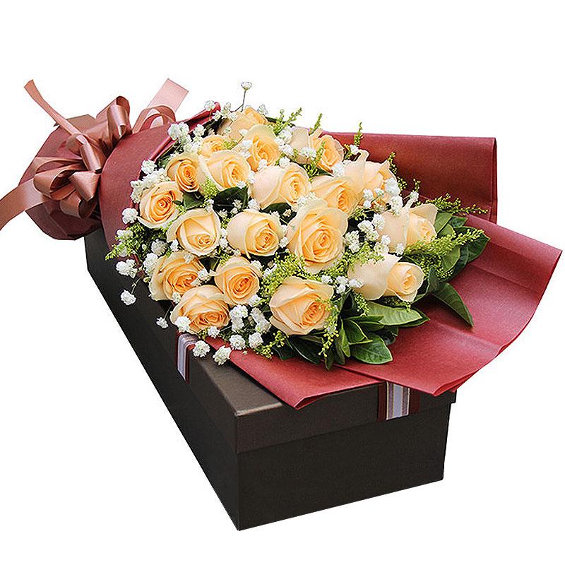 精选21枝香槟玫瑰/热烈的爱