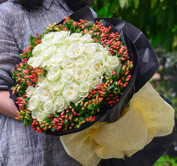 33枝优质白玫瑰/白头吟