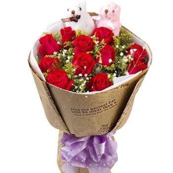 11枝红玫瑰+一对小熊/执子之手,与子偕老 (红玫瑰 爱情 友情 生日 情人 七夕 朋友 圣诞)
