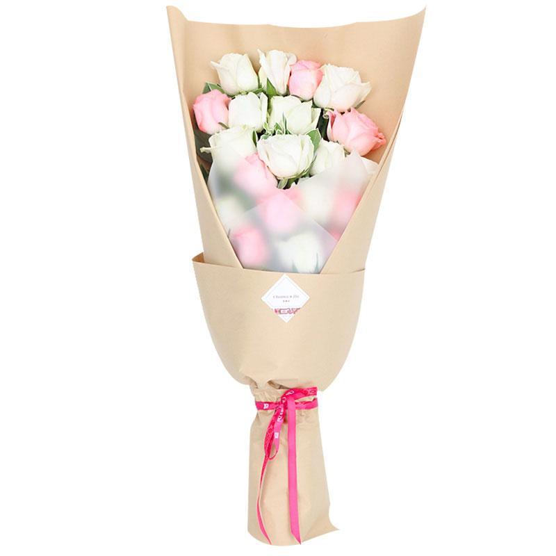 19朵极品白玫瑰和安娜粉玫瑰混搭/琴瑟之好