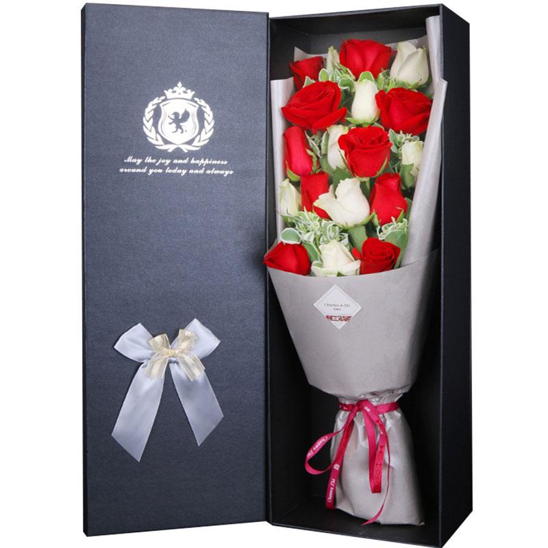 19朵红白混搭玫瑰高档礼盒装鲜花/恋香