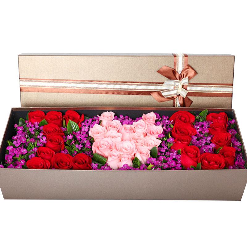33朵�t玫瑰和戴安娜玫瑰拼字I O U/幸福因有你