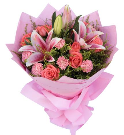 9枝粉玫瑰/因为爱